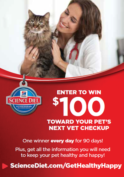Enter to win a $100 reimbursement from Hill's Pet Nutrition just for seeing a licensed veterinarian in the US (through Septe,ber 30th, 2014.) #GetHealthyHappy