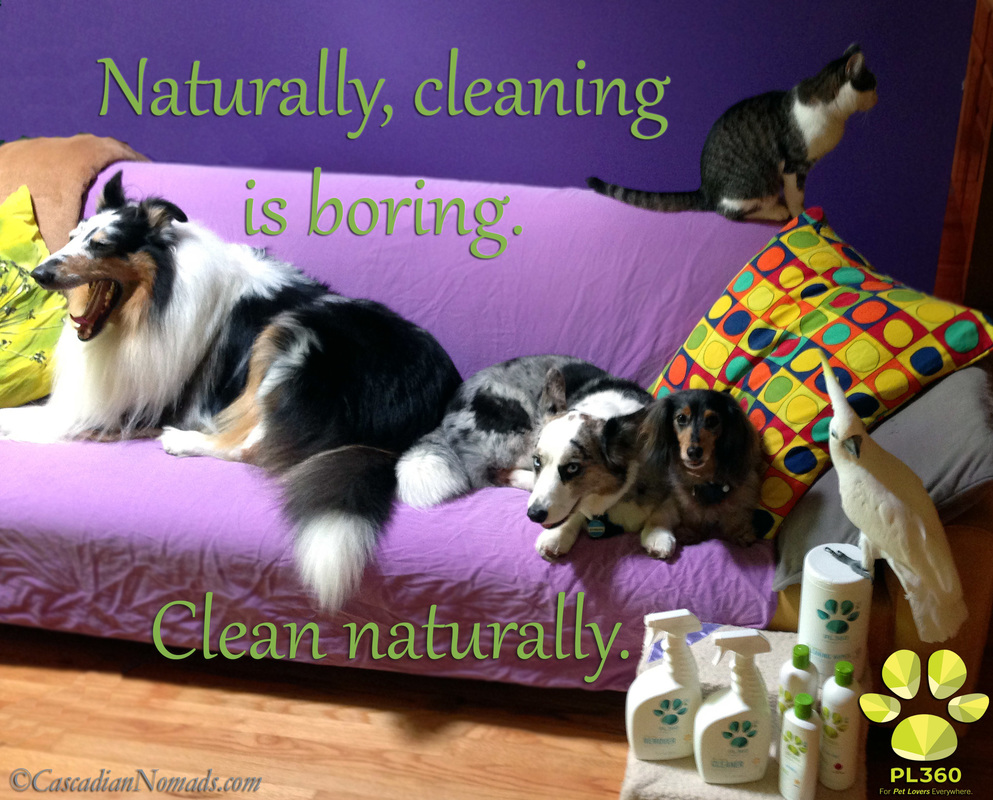 Naturally, cleaning is boring. Clean naturally. PL360 natural house cleaning and grooming products reiview and giveaway. #MultiPetMania