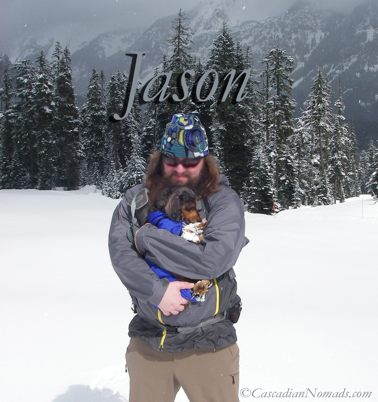 Cascadian Nomads Jason with miniature dachshund Wilhelm snowshoeing Silver Fir Snoqualmie Pass, Washington, Cascadia