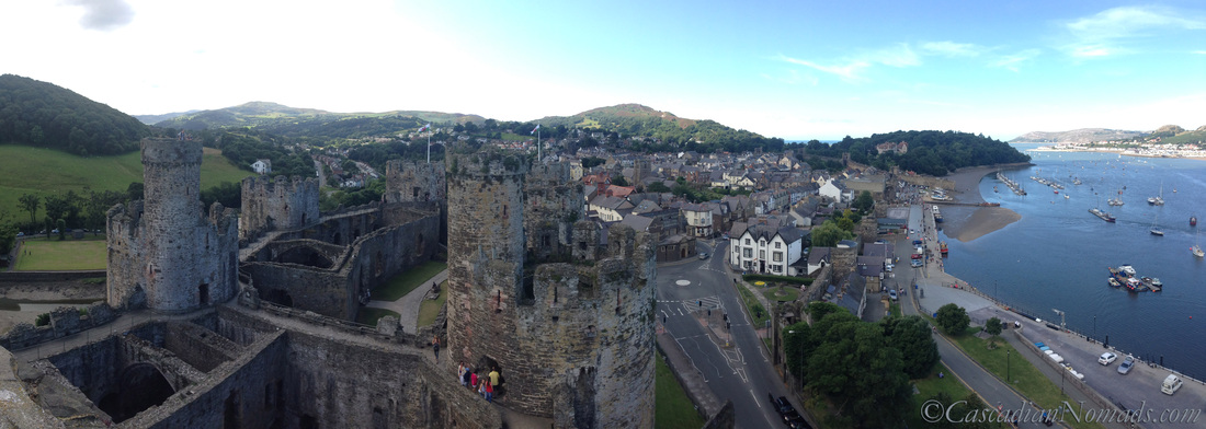 The Town of Conwy from a Conwy Castle tower, Conwy, Wales, United Kingdom.