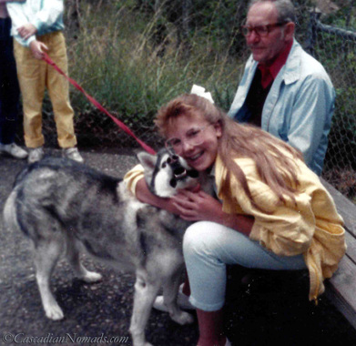 A girl and her dog: Siberian Husky Natasha & Bethany in 1987.